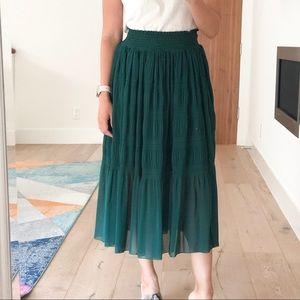 Zara green midi skirt